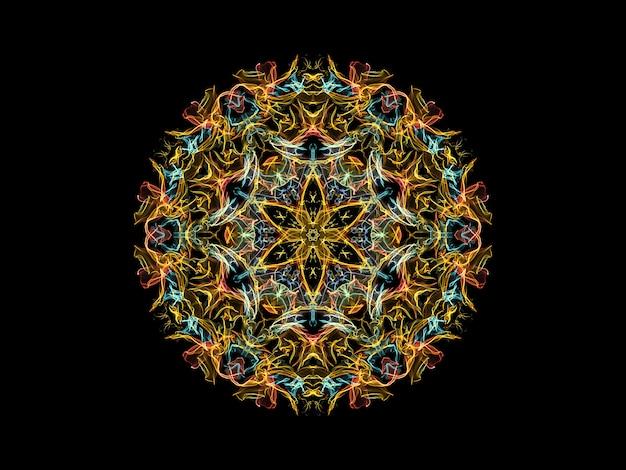 Gele, blauwe en koraal abstracte vlam mandala bloem, sier bloemen ronde patroon op zwarte achtergrond. Premium Foto