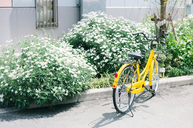 Gele fiets bij park in japan Gratis Foto