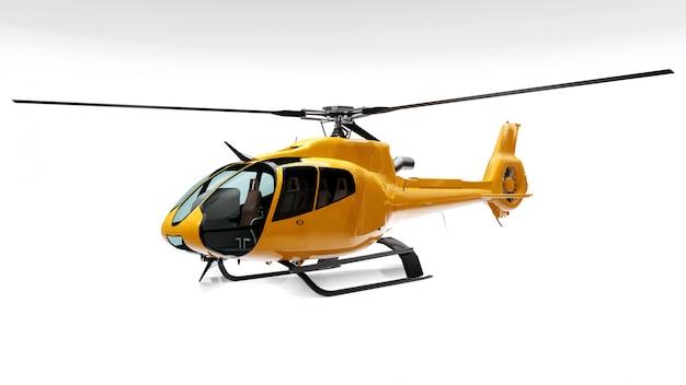 Gele helikopter die op het wit wordt geïsoleerd Premium Foto