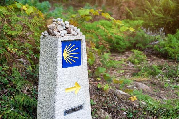 Gele schelp, toeristisch symbool van de camino de santiago die richting toont op camino norte in spanje. Premium Foto