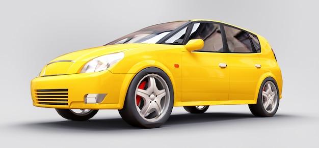 Gele stadsauto met glanzend oppervlak Premium Foto