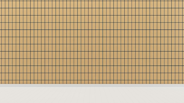 Gele tegel muur woonkamer huis achtergrond sjabloon witte vloer Premium Foto