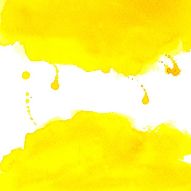 Gele waterverf met kleurenplons op wit achtergrondtextuurontwerp Premium Foto