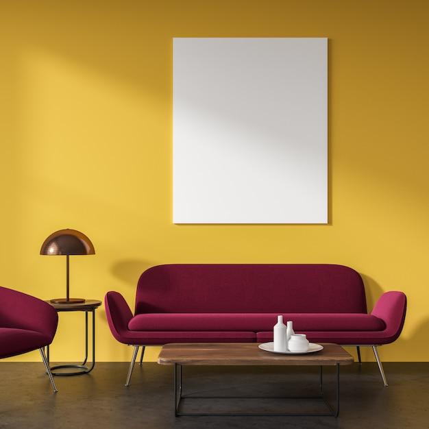 Gele woonkamer Premium Foto