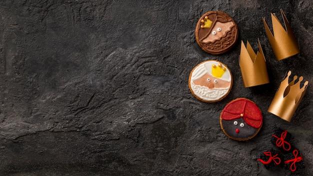 Gelukkig epiphany smakelijke koekjes kopiëren ruimte Gratis Foto