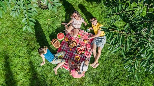 Gelukkig gezin met kinderen met picknick in het park, ouders met kinderen op tuin gras zitten en gezonde maaltijden buiten eten, luchtfoto drone weergave van bovenaf, familievakantie en weekend Premium Foto