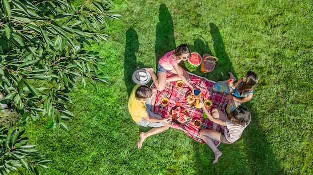 Gelukkig gezin met kinderen met picknick in het park, ouders met kinderen zittend op tuingras en gezonde maaltijden buiten eten, luchtfoto drone weergave van bovenaf, familievakantie en weekend concept Premium Foto