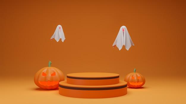 Gelukkig halloween, de presentatiepodium van het conceptenproduct met oranje de toonachtergrond van het pompoenspook. Premium Foto
