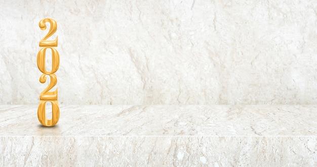 Gelukkig nieuw jaar 2020 hout (het 3d teruggeven) in perspectief marmeren lijst en muurruimte Premium Foto