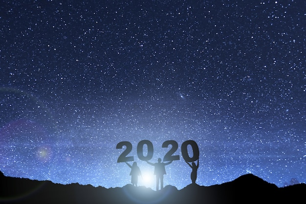 Gelukkig nieuwjaar 2020 Premium Foto