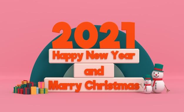 Gelukkig nieuwjaar 2021 en kerst trouwen met sneeuwpop in geschenkverpakking. 3d-weergave Premium Foto