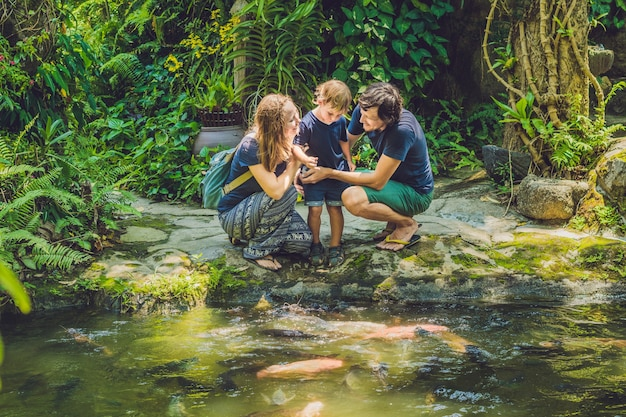Gelukkige familie kleurrijke meerval voederen in tropische vijver Premium Foto