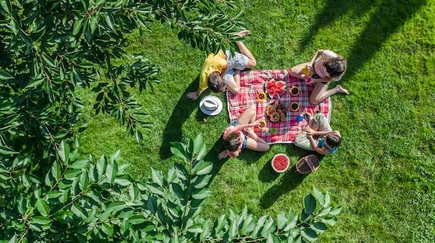 Gelukkige familie met kinderen die picknick in park hebben, ouders met jonge geitjes die op tuingras zitten en gezonde maaltijden in openlucht eten Premium Foto