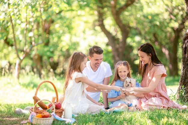 Gelukkige familie op een picknick in het park op een zonnige dag Premium Foto