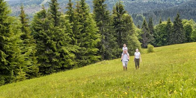 Gelukkige familie: vader met zoon op schouders en moeder gaan op een groen veld Premium Foto