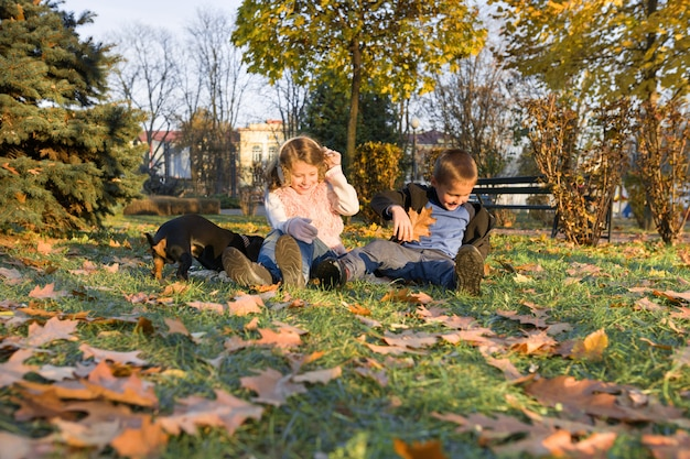Gelukkige jonge geitjes die met hond in zonnig de herfstpark spelen Premium Foto