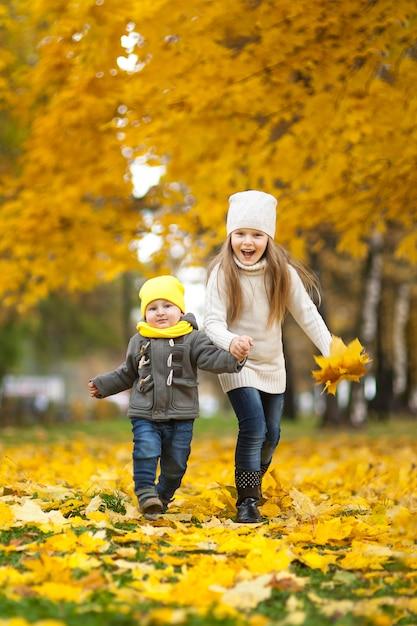 Gelukkige kinderen die in mooi de herfstpark spelen op koude zonnige dalingsdag. kinderen in warme jassen spelen met gouden bladeren. Premium Foto