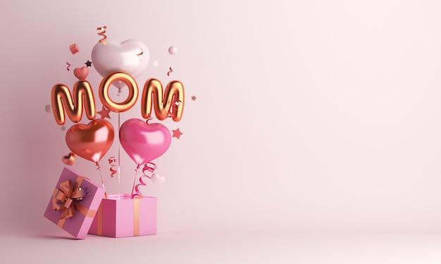 Gelukkige moederdagdecoratie met ballon en exemplaarruimte van de giftdoos Premium Foto