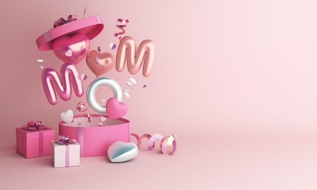 Gelukkige moederdagdecoratie met de doos van de de ballongift van de hartvorm Premium Foto