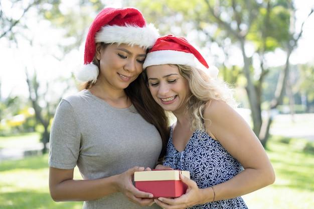 Gelukkige mooie dames die kerstmanhoeden dragen en giftdoos houden Gratis Foto
