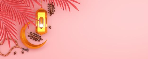 Gelukkige muharram islamitische nieuwe jaarachtergrond met toenemende lantaarn dateert fruit, exemplaarruimte Premium Foto