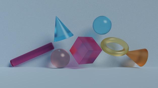 Geometrische abstracte zwevende glasvormen Premium Foto