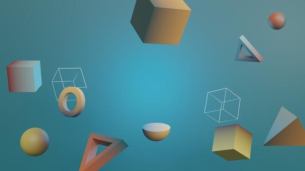 Geometrische abstracte zwevende vormen Premium Foto