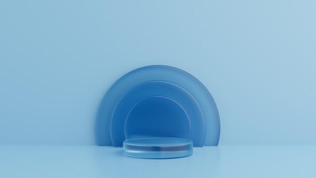 Geometrische vormen glas blauw, podium op de vloer. 3d-rendering Premium Foto