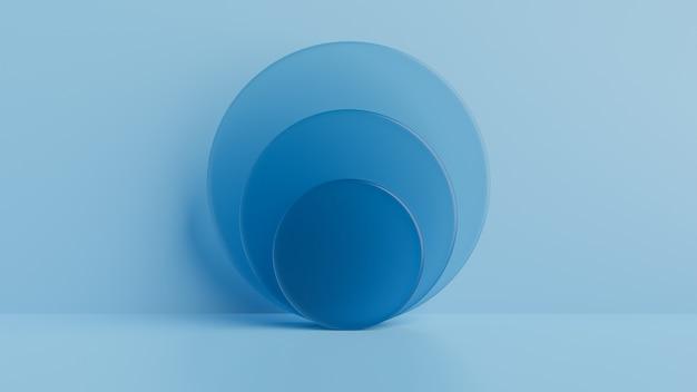 Geometrische vormen glas, podium op de vloer. 3d-rendering Premium Foto