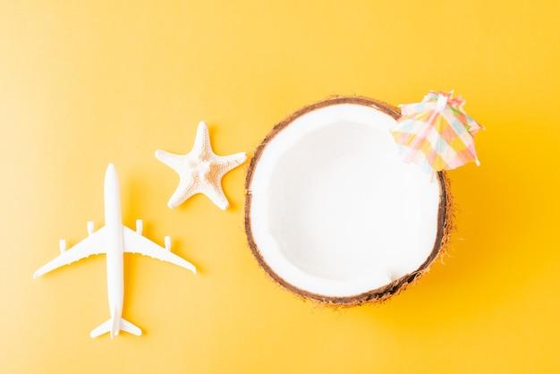 Geopende kokosnoot met zeester en vliegtuig Premium Foto