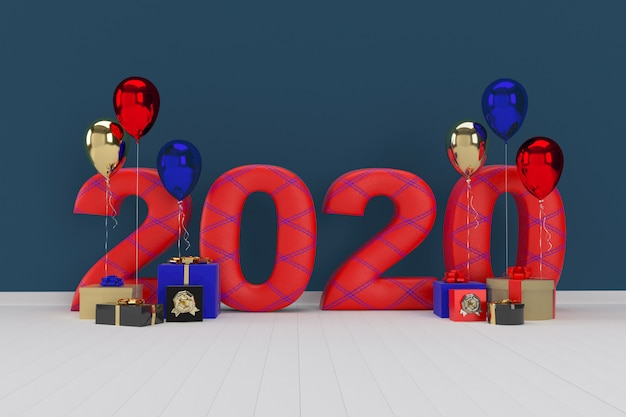 Geschenkdoos met ballon. gelukkig nieuwjaar 2020. 3d-weergave Premium Foto