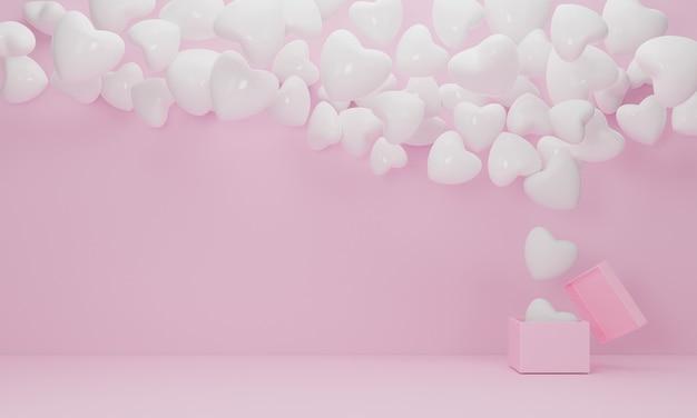 Geschenkdoos open witte ballon hart zweven op roze achtergrond, symbolen van liefde voor happy women's, mother's, valentijnsdag, verjaardag concept. 3d-weergave Premium Foto