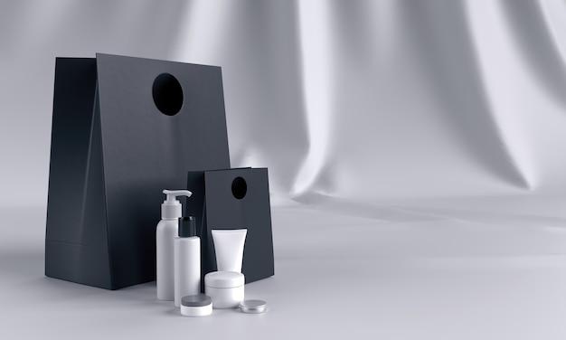 Geschenkset van cosmetica in zwart-wit mock up Premium Foto