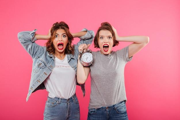Geschokte vrouwenvrienden die alarm houden. Gratis Foto