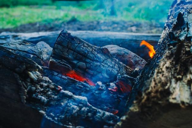 Gesmolten logboeken brandden dicht omhoog in levendige brand. atmosferische achtergrond met oranje vlam van kampvuur. onvoorstelbaar gedetailleerd beeld van vuur van binnenuit met copyspace. rook en gloeiende sintels in de lucht. Premium Foto