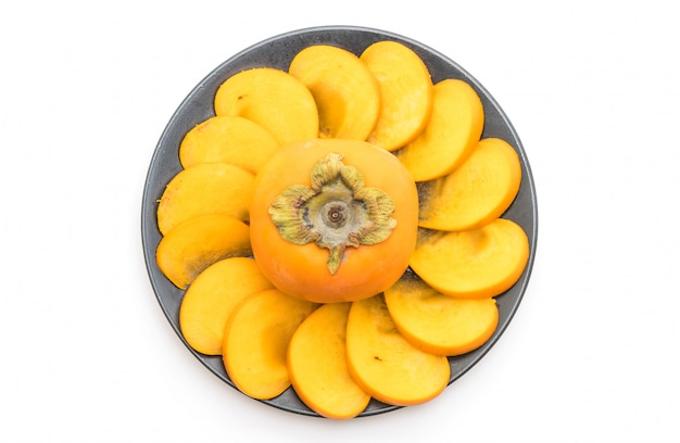 Gesneden verse persimmon Premium Foto