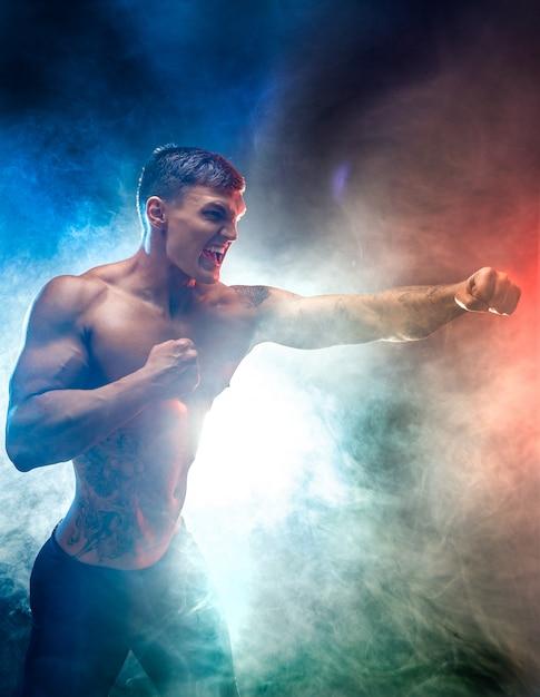 Gespierd vechtersponsen in rook. kleur achtergrond. Premium Foto