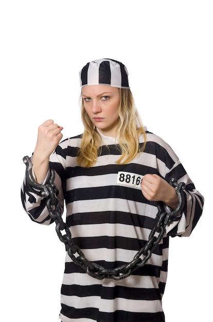 Gevangene vrouw geïsoleerd Premium Foto