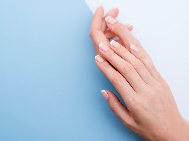 Gevoelige vrouwenhanden met blauwe exemplaarruimte Premium Foto