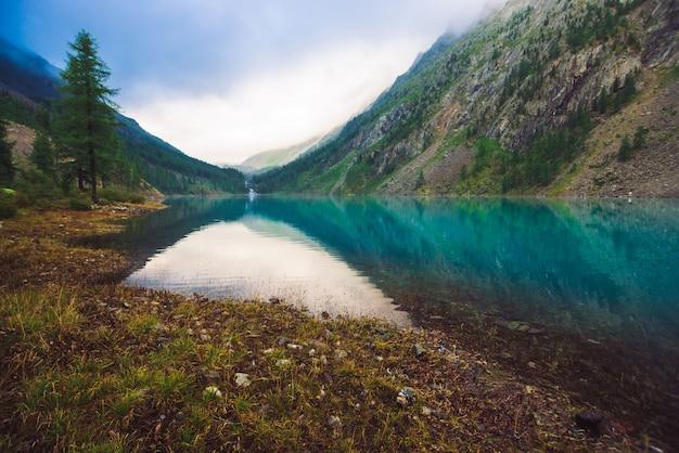 Geweldig bergmeer bij bewolkt weer. Premium Foto