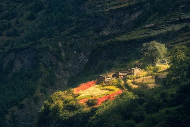 Geweldig klein dorp op de heuvel verlicht door een zonnestraal bij zonsopgang Premium Foto