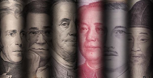 Gezicht van de nationale leider van verschillende bankbiljetten in de wereld, zoals dollar yuan baht won en piso. Premium Foto