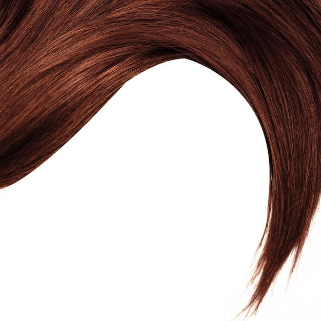 Gezond bruin haar dat op wit wordt geïsoleerd Premium Foto