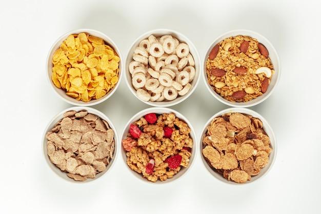 Gezonde voeding ontbijt ingrediënten Premium Foto
