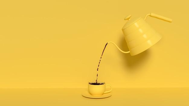 Giet zwarte koffie uit de waterkoker Premium Foto