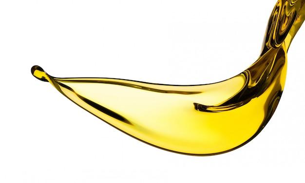 Gietende plonsolie automotor of plantaardige die olijf op witte achtergrond wordt geïsoleerd Premium Foto