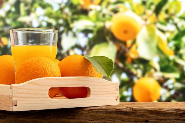 Glas jus d'orange en oranje fruit op aard. Premium Foto
