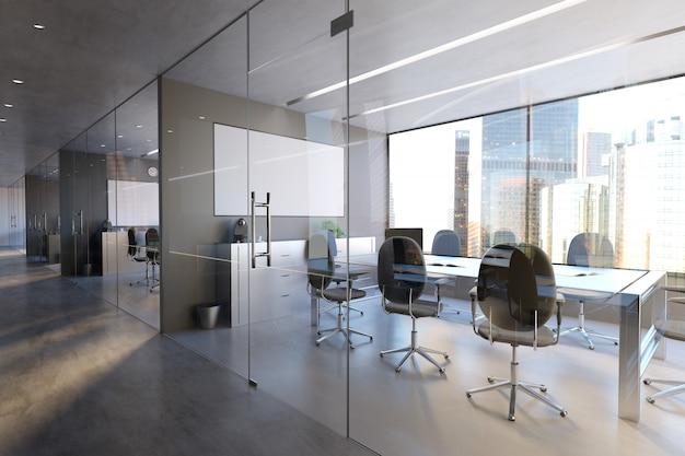 Glazen kantoor kamer muur Premium Foto