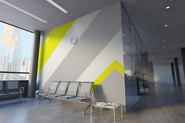 Glazen kantoorruimte muur mockup Premium Foto