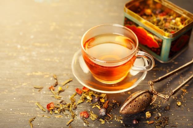 Glazen kop thee Premium Foto
